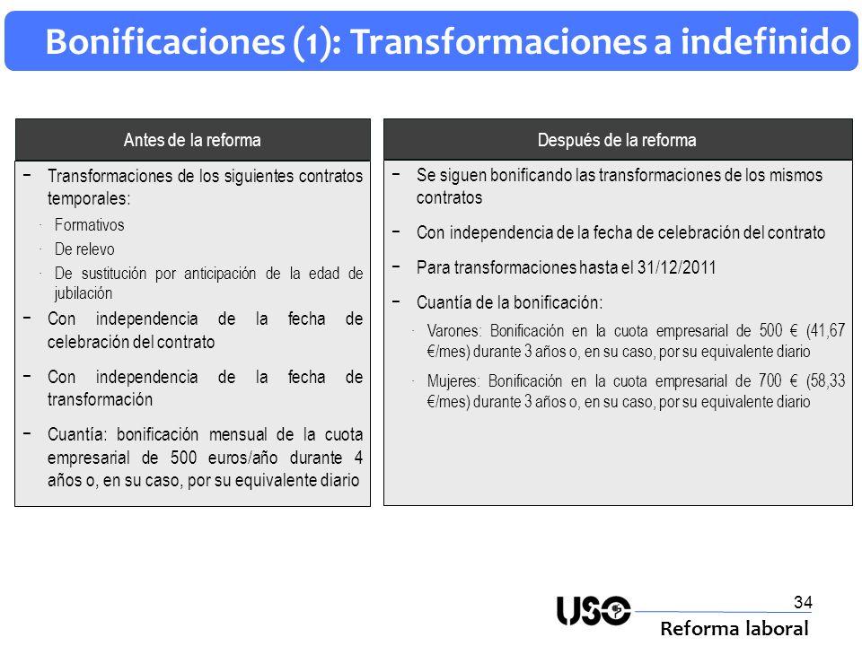 34 Bonificaciones (1): Transformaciones a indefinido Reforma laboral Después de la reforma Antes de la reforma Se siguen bonificando las transformacio