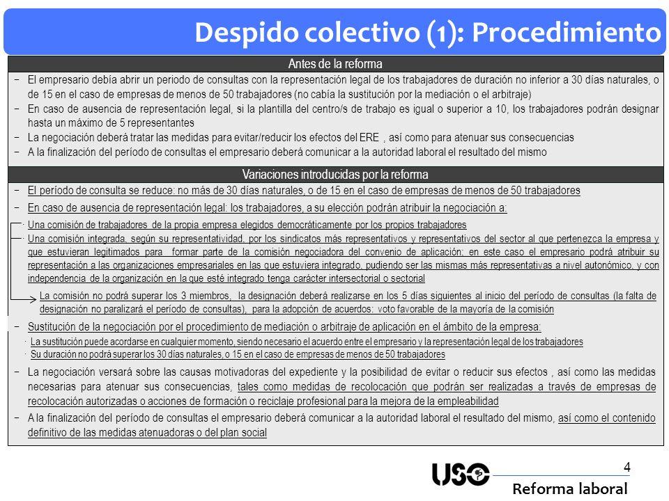 4 Despido colectivo (1): Procedimiento Reforma laboral Antes de la reforma El período de consulta se reduce: no más de 30 días naturales, o de 15 en e