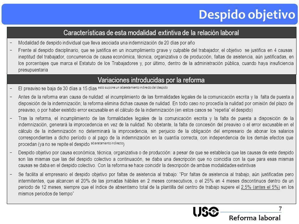 7 Despido objetivo Reforma laboral Variaciones introducidas por la reforma Características de esta modalidad extintiva de la relación laboral El preav