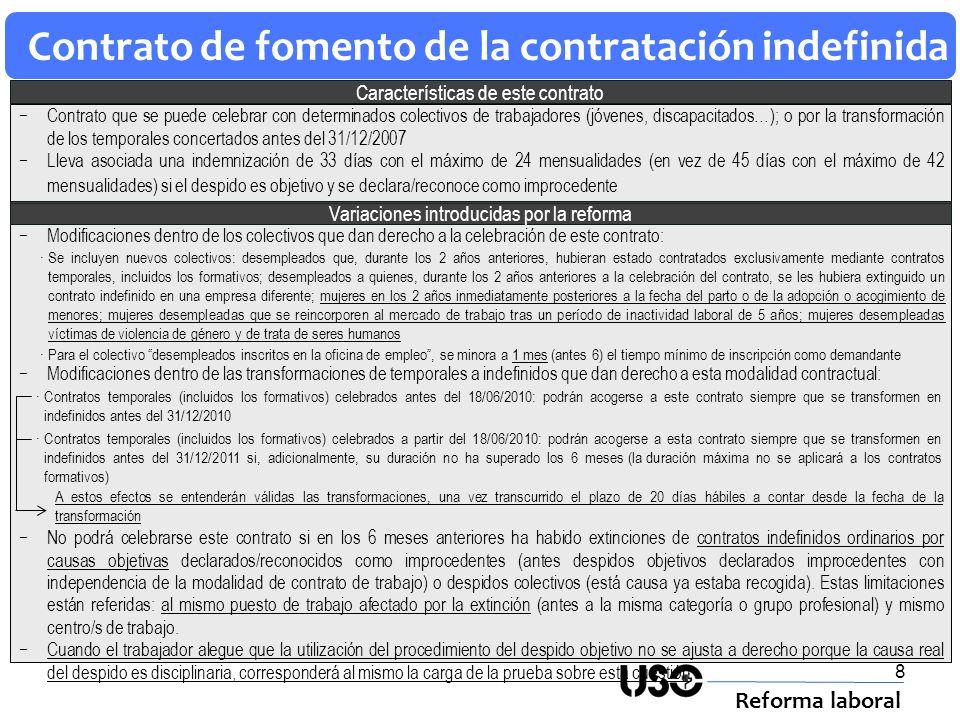 8 Contrato de fomento de la contratación indefinida Reforma laboral Características de este contrato Modificaciones dentro de los colectivos que dan d