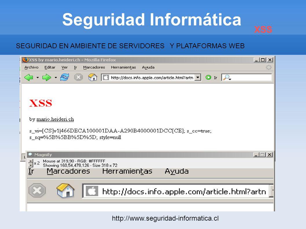 Seguridad Informática http://www.seguridad-informatica.cl XSS SEGURIDAD EN AMBIENTE DE SERVIDORESY PLATAFORMAS WEB