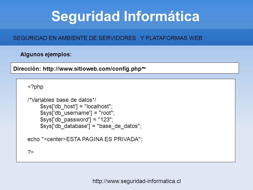 Seguridad Informática http://www.seguridad-informatica.cl Algunos ejemplos: SEGURIDAD EN AMBIENTE DE SERVIDORESY PLATAFORMAS WEB Dirección: http://www