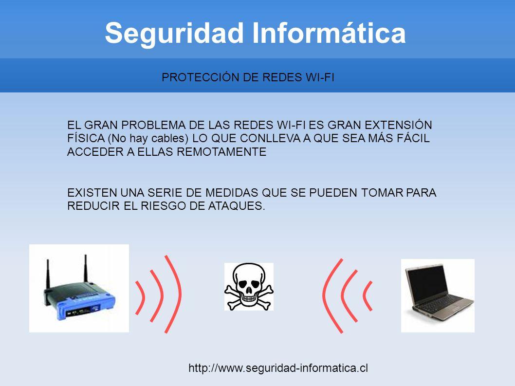 Seguridad Informática http://www.seguridad-informatica.cl PROTECCIÓN DE REDES WI-FI EL GRAN PROBLEMA DE LAS REDES WI-FI ES GRAN EXTENSIÓN FÍSICA (No h