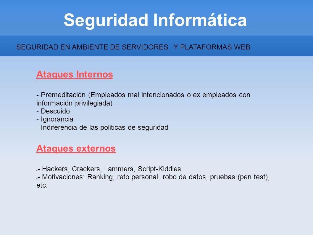 Seguridad Informática Ataques Internos - Premeditación (Empleados mal intencionados o ex empleados con información privilegiada) - Descuido - Ignoranc
