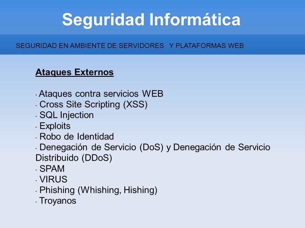 Seguridad Informática Ataques Externos Ataques contra servicios WEB Cross Site Scripting (XSS) SQL Injection Exploits Robo de Identidad Denegación de