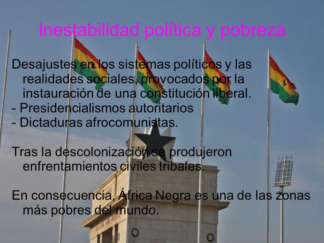 Inestabilidad política y pobreza Desajustes en los sistemas políticos y las realidades sociales, provocados por la instauración de una constitución li