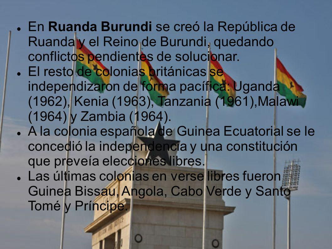 En Ruanda Burundi se creó la República de Ruanda y el Reino de Burundi, quedando conflictos pendientes de solucionar. El resto de colonias británicas
