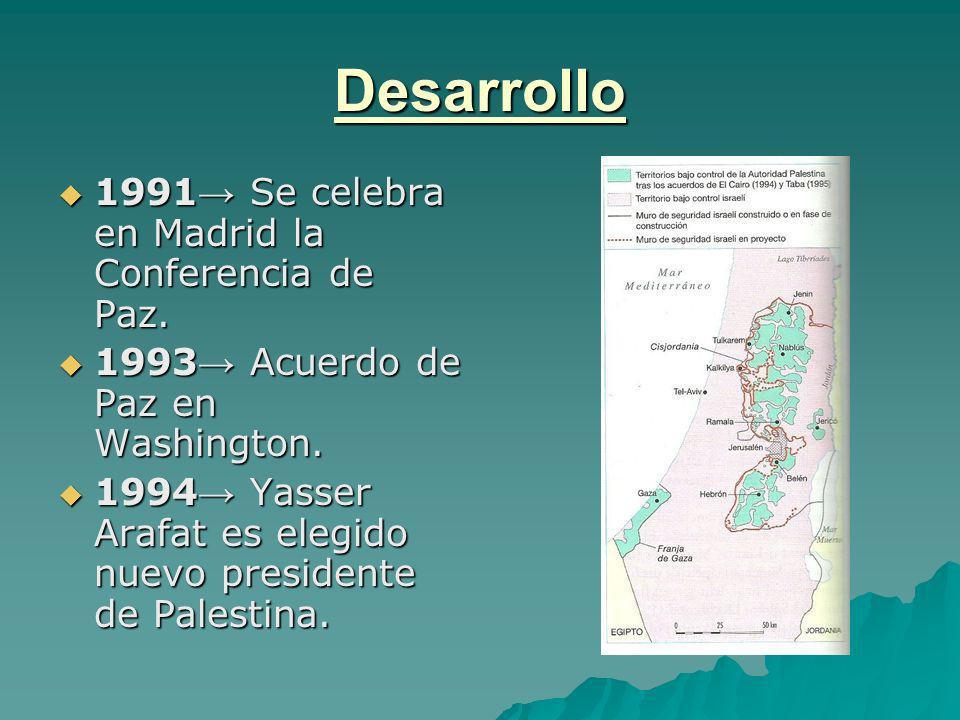 Desarrollo 1991 Se celebra en Madrid la Conferencia de Paz. 1991 Se celebra en Madrid la Conferencia de Paz. 1993 Acuerdo de Paz en Washington. 1993 A