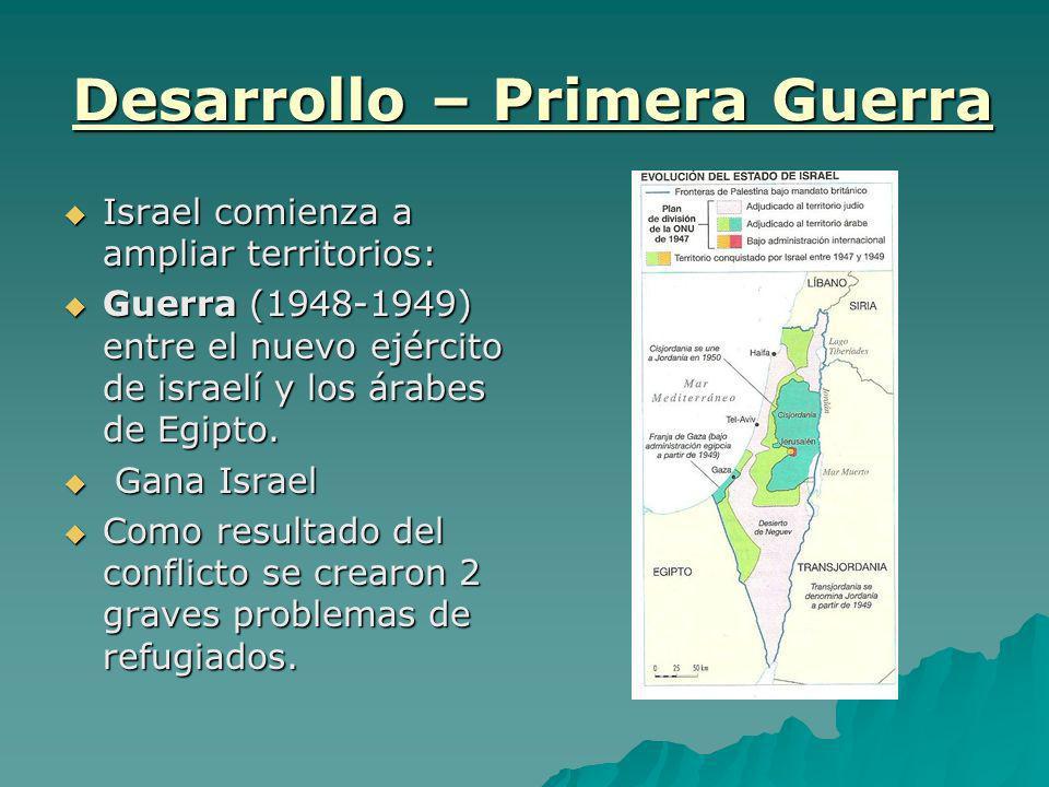 Desarrollo – Primera Guerra Israel comienza a ampliar territorios: Israel comienza a ampliar territorios: Guerra (1948-1949) entre el nuevo ejército d