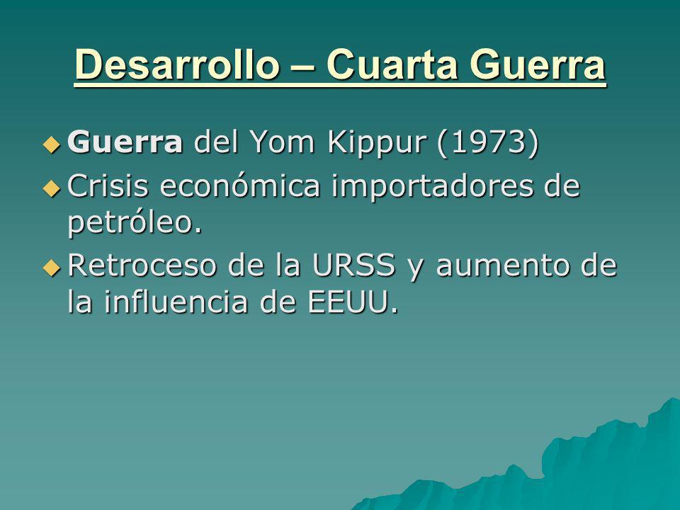 Desarrollo – Cuarta Guerra Guerra del Yom Kippur (1973) Guerra del Yom Kippur (1973) Crisis económica importadores de petróleo. Crisis económica impor