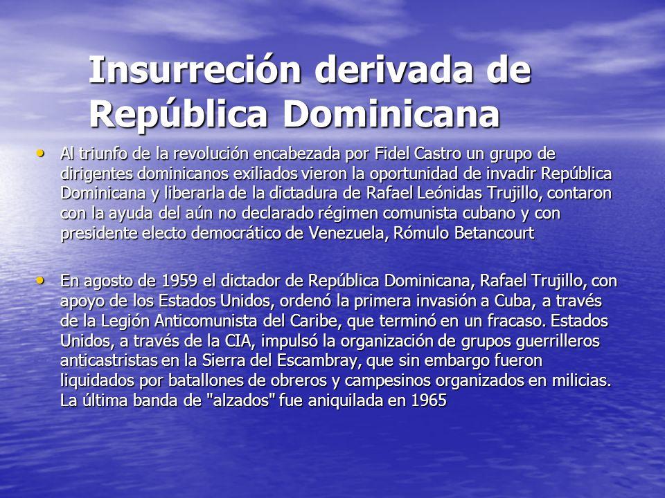 Insurreción derivada de República Dominicana Al triunfo de la revolución encabezada por Fidel Castro un grupo de dirigentes dominicanos exiliados vier