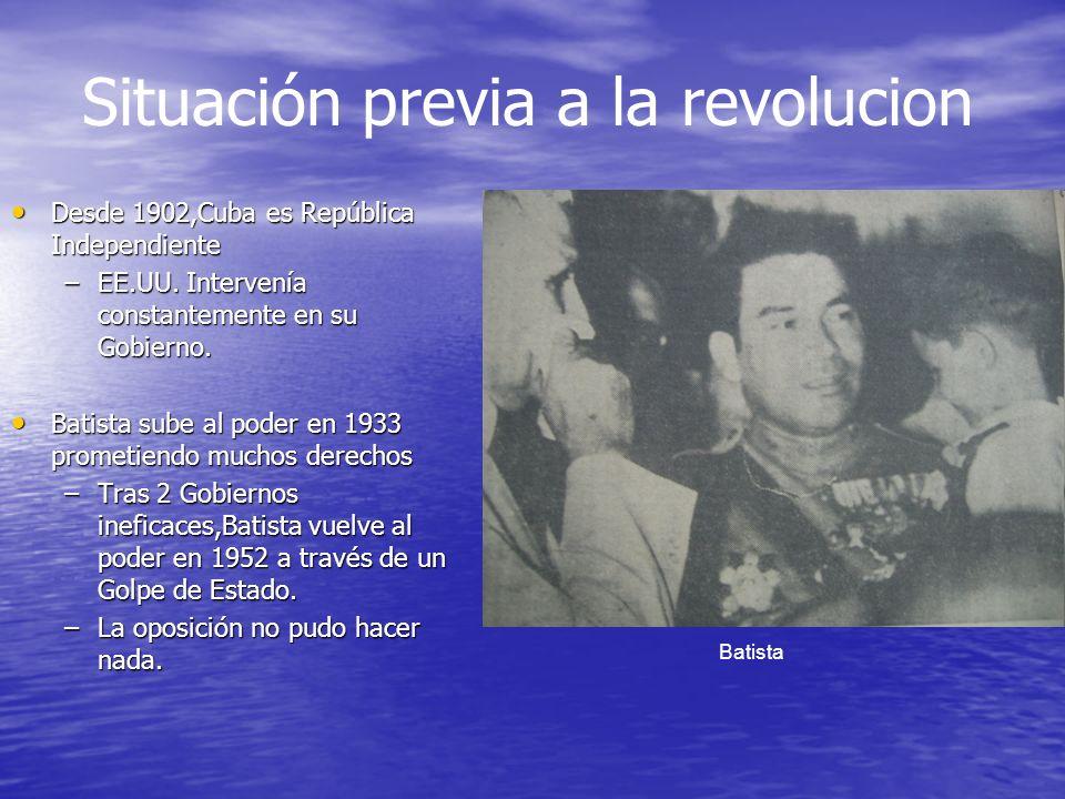 Desde 1902,Cuba es República Independiente Desde 1902,Cuba es República Independiente –EE.UU. Intervenía constantemente en su Gobierno. Batista sube a