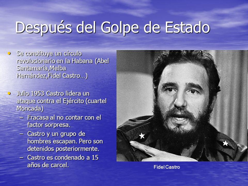 Después del Golpe de Estado Se constituye un círculo revolucionario en la Habana (Abel Santamaría,Melba Hernández,Fidel Castro…) Se constituye un círc
