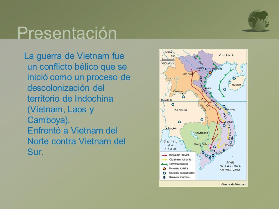 Presentación La guerra de Vietnam fue un conflicto bélico que se inició como un proceso de descolonización del territorio de Indochina (Vietnam, Laos