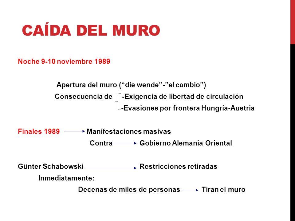 CAÍDA DEL MURO Noche 9-10 noviembre 1989 Apertura del muro (die wende-el cambio) Consecuencia de -Exigencia de libertad de circulación -Evasiones por