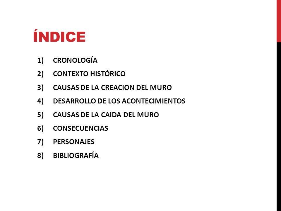 ÍNDICE 1)CRONOLOGÍA 2)CONTEXTO HISTÓRICO 3)CAUSAS DE LA CREACION DEL MURO 4)DESARROLLO DE LOS ACONTECIMIENTOS 5)CAUSAS DE LA CAIDA DEL MURO 6)CONSECUE