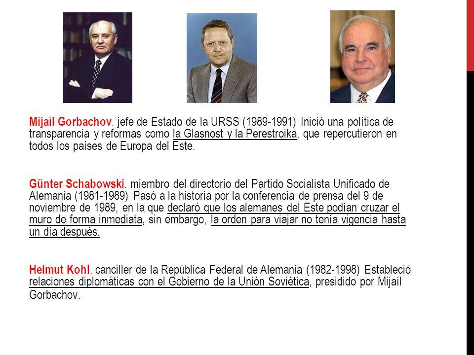 Mijaíl Gorbachov. jefe de Estado de la URSS (1989-1991) Inició una política de transparencia y reformas como la Glasnost y la Perestroika, que repercu