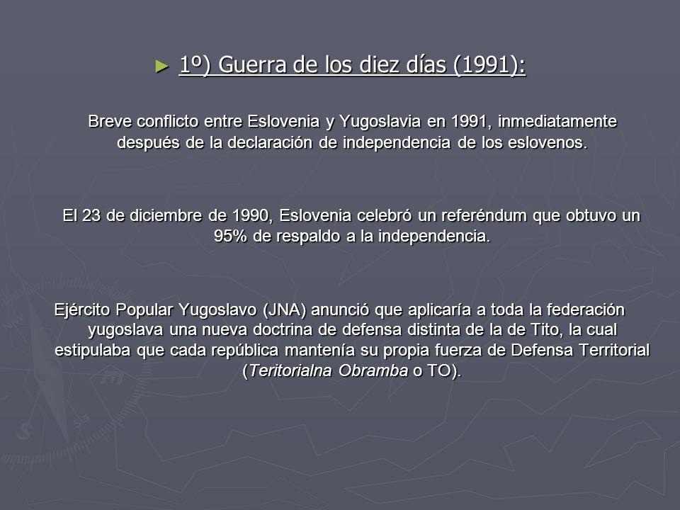 1º) Guerra de los diez días (1991): 1º) Guerra de los diez días (1991): Breve conflicto entre Eslovenia y Yugoslavia en 1991, inmediatamente después d