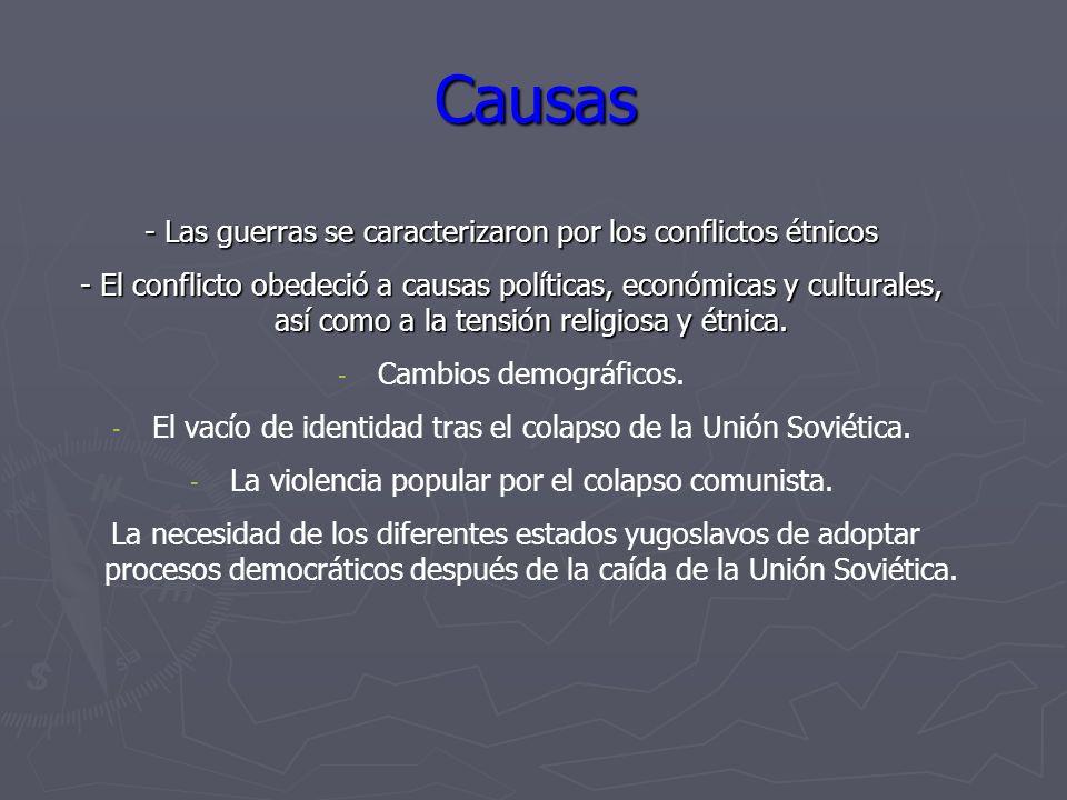 Causas - Las guerras se caracterizaron por los conflictos étnicos - El conflicto obedeció a causas políticas, económicas y culturales, así como a la t