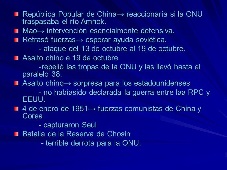República Popular de China reaccionaría si la ONU traspasaba el río Amnok. Mao intervención esencialmente defensiva. Retrasó fuerzas esperar ayuda sov