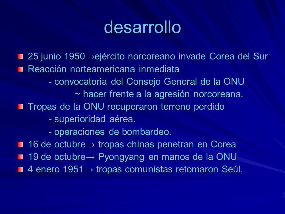 desarrollo 25 junio 1950ejército norcoreano invade Corea del Sur Reacción norteamericana inmediata - convocatoria del Consejo General de la ONU - conv