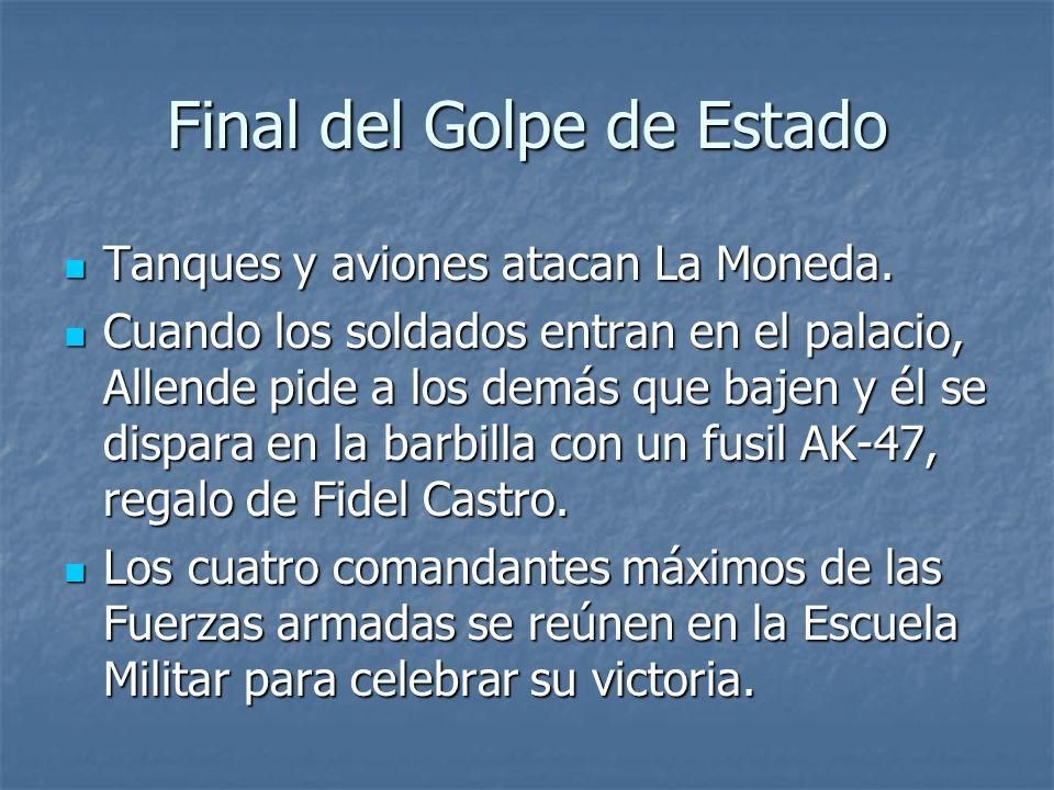 Final del Golpe de Estado Tanques y aviones atacan La Moneda.