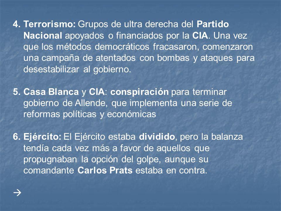 4.Terrorismo: Grupos de ultra derecha del Partido Nacional apoyados o financiados por la CIA.