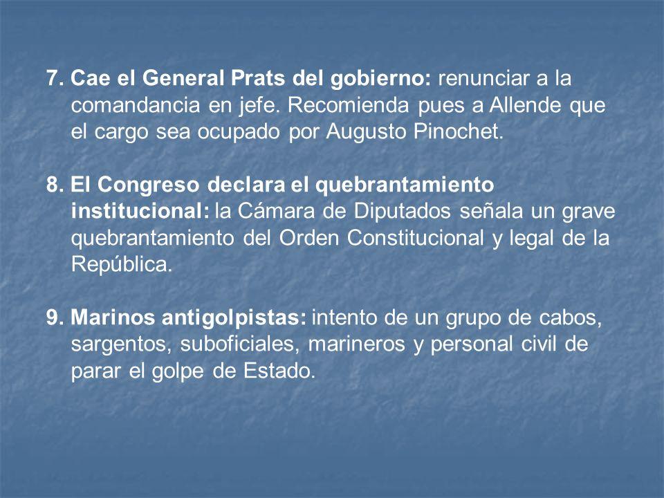 7.Cae el General Prats del gobierno: renunciar a la comandancia en jefe.
