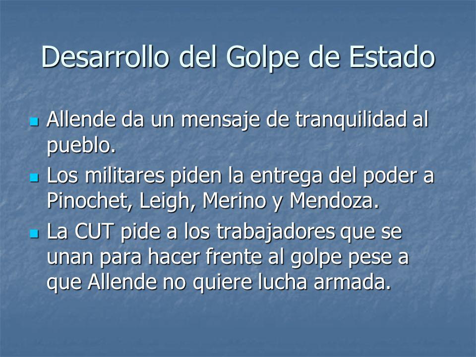 Desarrollo del Golpe de Estado Allende da un mensaje de tranquilidad al pueblo.
