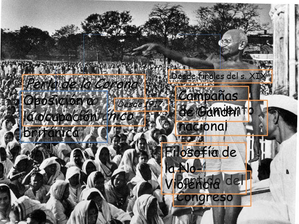 1ª mitad S.XX La India Perla de la Corona del Imperio Colonial Británico Desde finales del s. XIX Sentimiento nacional Creación Partido del Congreso O