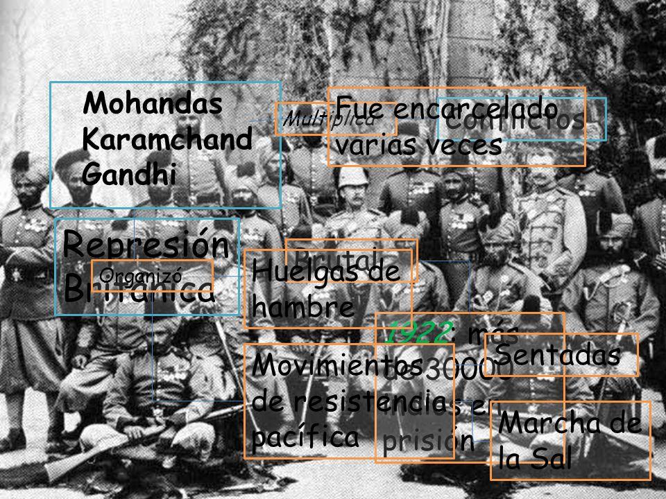 Movimiento Nacionalista Mohandas Karamchand Gandhi Multiplica Conflictos Represión Británica Brutal 1922: más de 30000 indios en prisión Fue encarcela