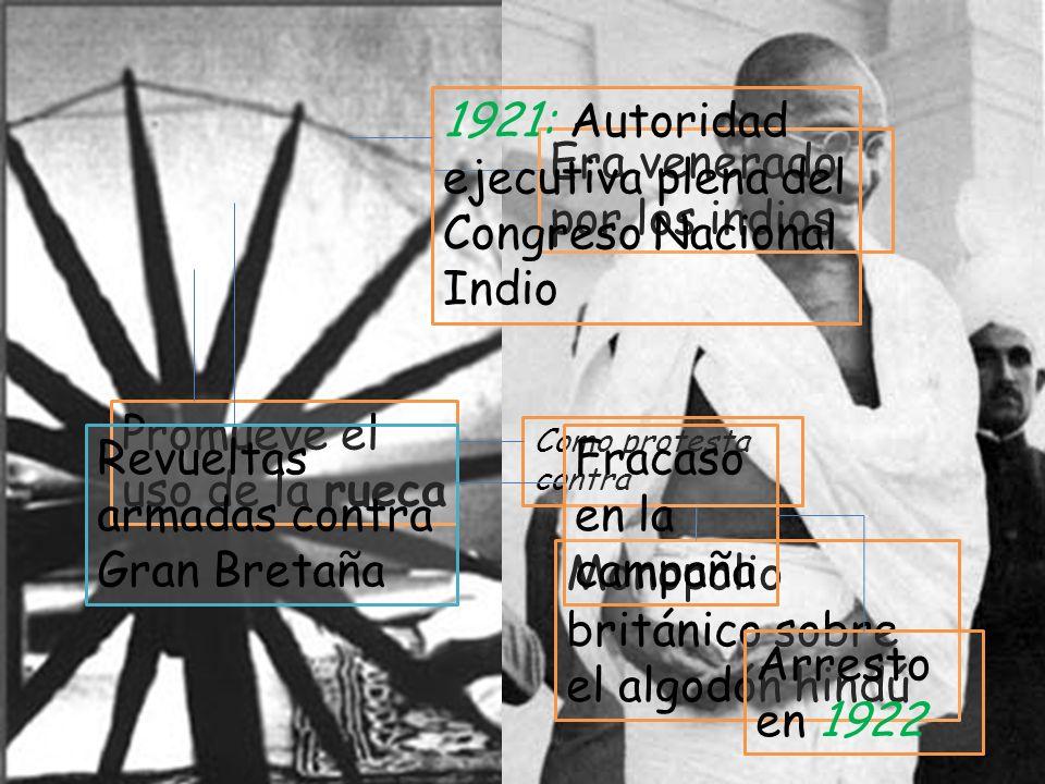 El Mahatma Gandhi Era venerado por los indios Promueve el uso de la rueca Como protesta contra Monopolio británico sobre el algodón hindú 1921: Autori