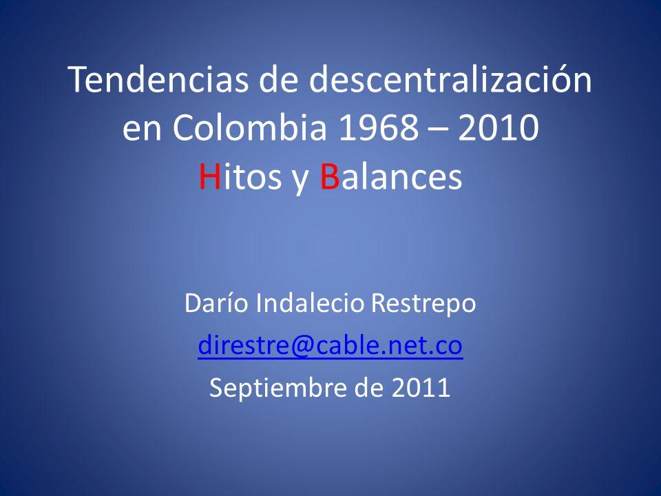 Tendencias de descentralización en Colombia 1968 – 2010 Hitos y Balances Darío Indalecio Restrepo direstre@cable.net.co Septiembre de 2011