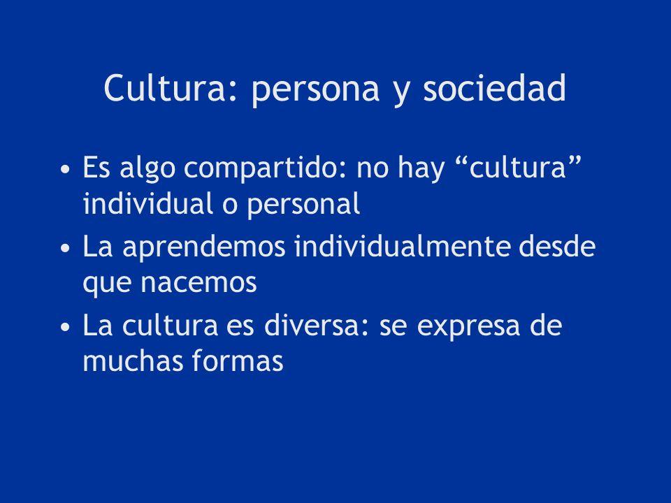 Cultura: persona y sociedad Es algo compartido: no hay cultura individual o personal La aprendemos individualmente desde que nacemos La cultura es div