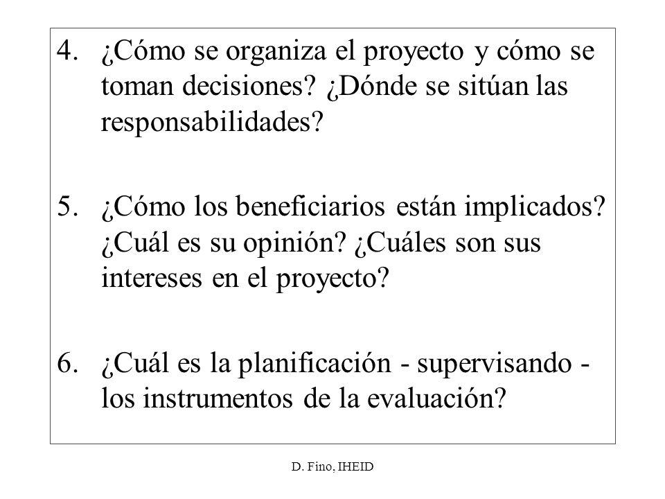 D. Fino, IHEID 4.¿Cómo se organiza el proyecto y cómo se toman decisiones.