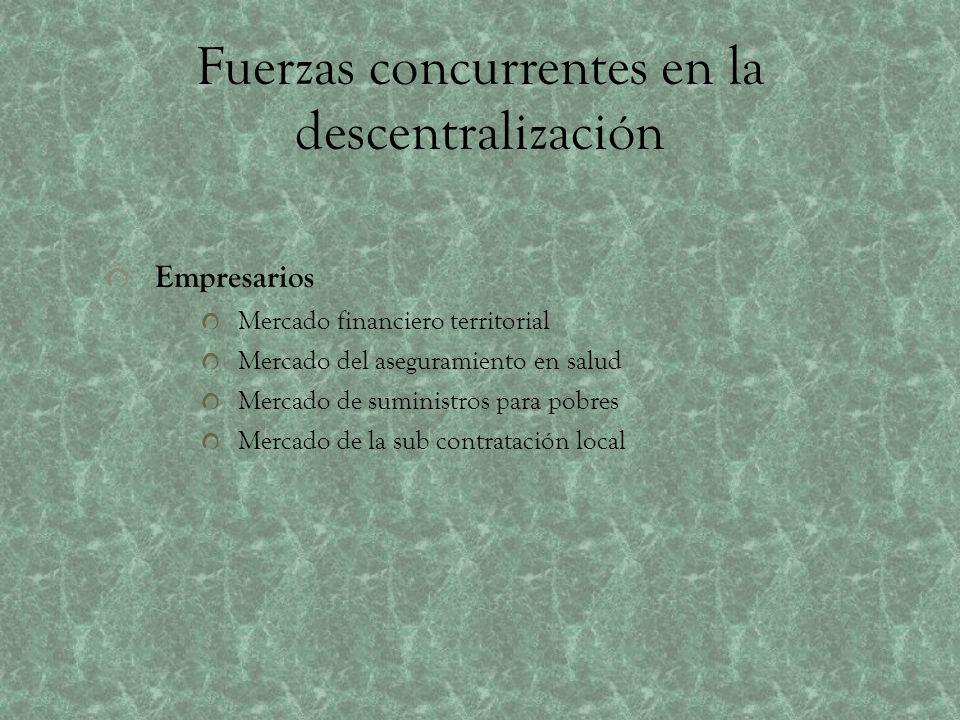Fuerzas concurrentes en la descentralización Empresarios Mercado financiero territorial Mercado del aseguramiento en salud Mercado de suministros para