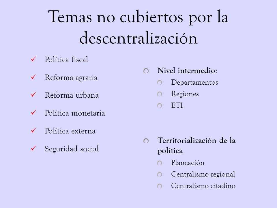 Fuerzas concurrentes en la descentralización o Neoliberalismo o Achicar Estado y Gasto o Combatir sindicalización o Subir impuestos locales o Proteger el presupuesto nacional o Localizar conflictos sociales o Privatizar empresas o Tamaño óptimo del Estado