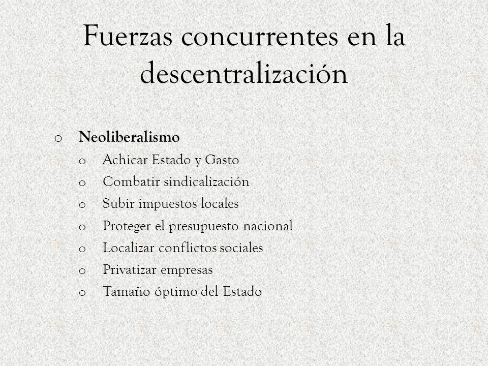 Fuerzas concurrentes en la descentralización o Neoliberalismo o Achicar Estado y Gasto o Combatir sindicalización o Subir impuestos locales o Proteger