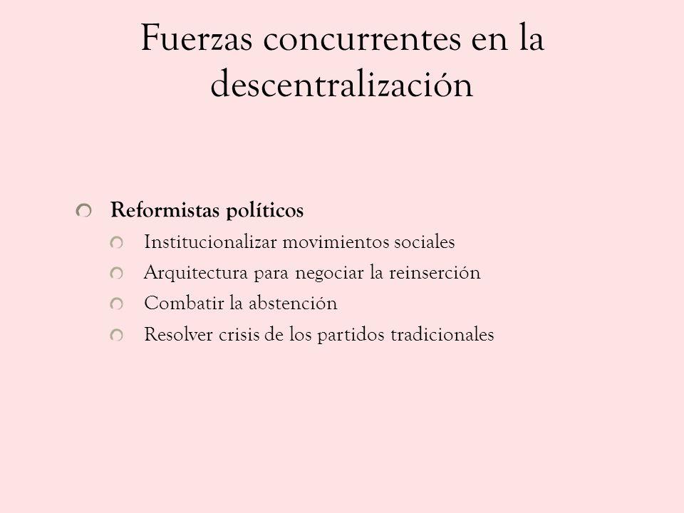 Fuerzas concurrentes en la descentralización Reformistas políticos Institucionalizar movimientos sociales Arquitectura para negociar la reinserción Co