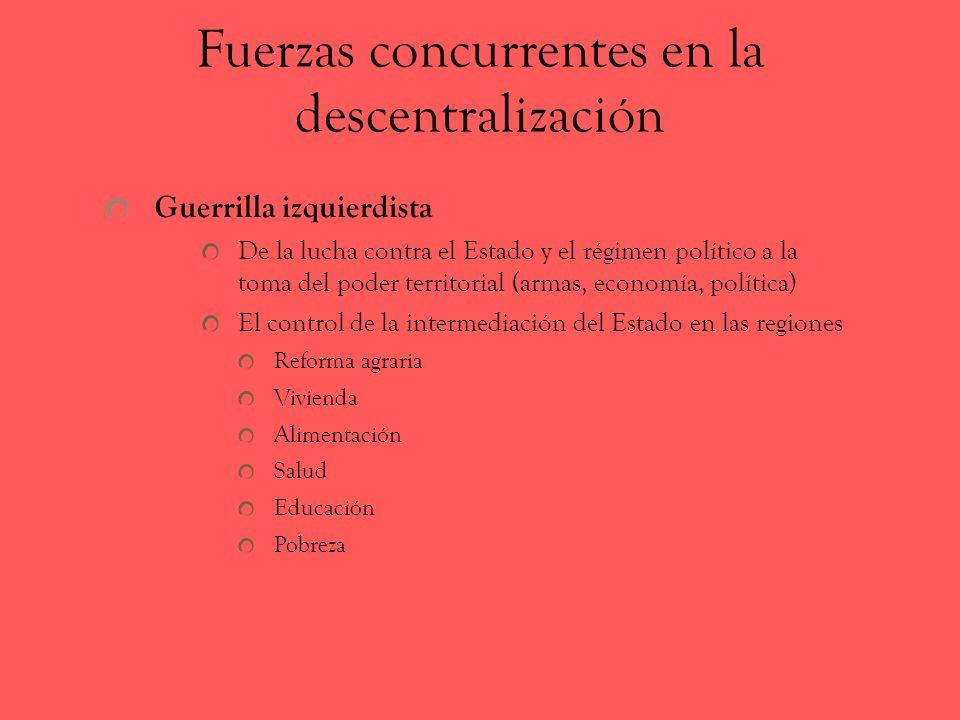 Fuerzas concurrentes en la descentralización Guerrilla izquierdista De la lucha contra el Estado y el régimen político a la toma del poder territorial