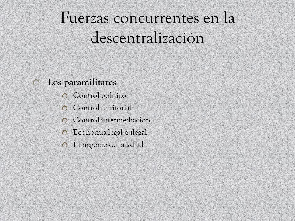 Fuerzas concurrentes en la descentralización Los paramilitares Control político Control territorial Control intermediación Economía legal e ilegal El