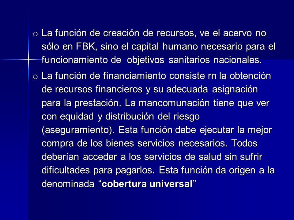 o La función de creación de recursos, ve el acervo no sólo en FBK, sino el capital humano necesario para el funcionamiento de objetivos sanitarios nacionales.
