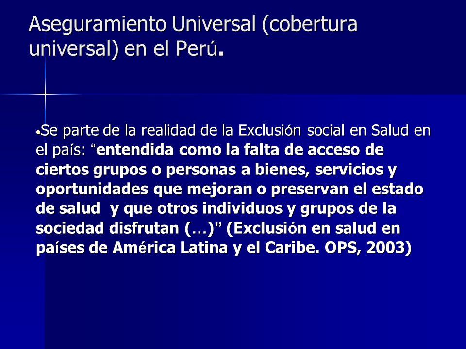 Aseguramiento Universal (cobertura universal) en el Per ú. Se parte de la realidad de la Exclusi ó n social en Salud en el pa í s: entendida como la f