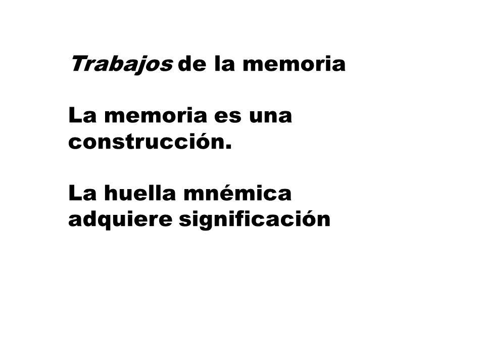 La memoria remite a la experiencia La experiencia combina las vivencias propias, pero también las que nos han transmitido otros. Continua re-significa