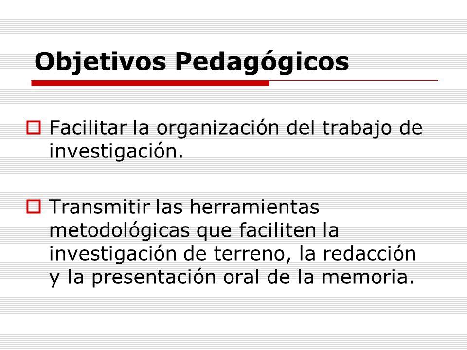 Objetivos Pedagógicos Facilitar la organización del trabajo de investigación. Transmitir las herramientas metodológicas que faciliten la investigación