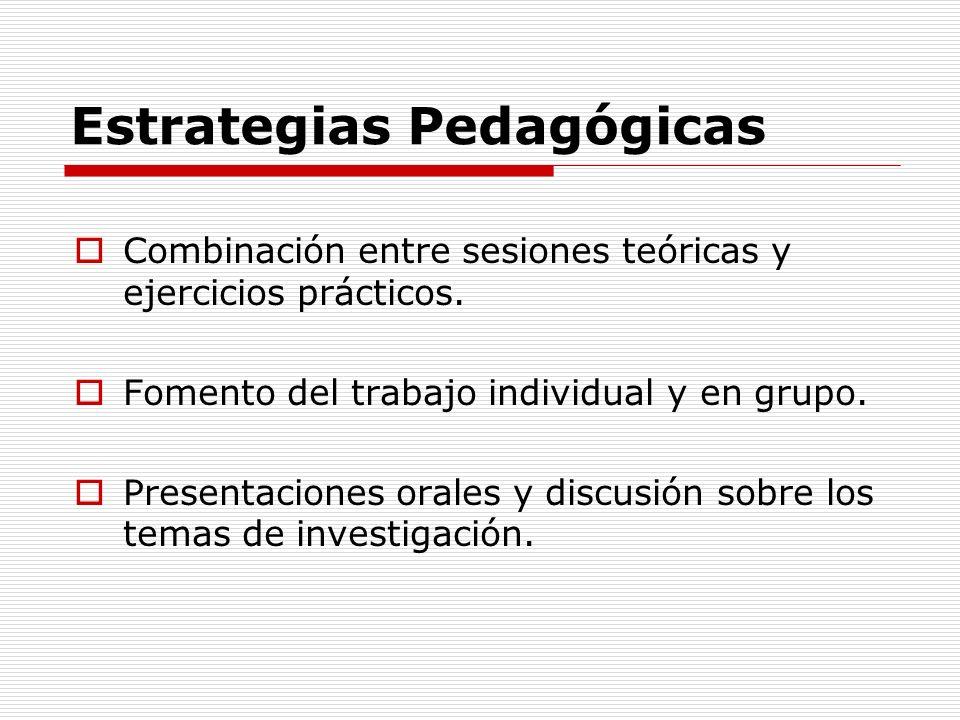 Estrategias Pedagógicas Combinación entre sesiones teóricas y ejercicios prácticos. Fomento del trabajo individual y en grupo. Presentaciones orales y