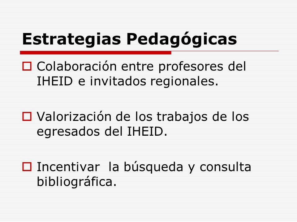 Estrategias Pedagógicas Colaboración entre profesores del IHEID e invitados regionales. Valorización de los trabajos de los egresados del IHEID. Incen