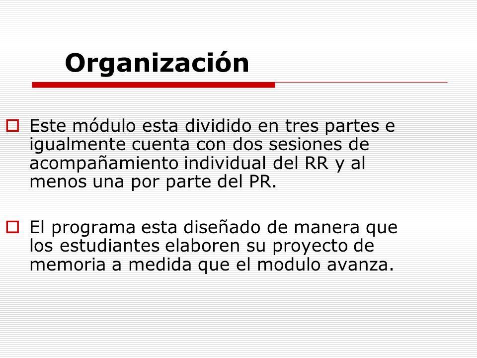 Organización Este módulo esta dividido en tres partes e igualmente cuenta con dos sesiones de acompañamiento individual del RR y al menos una por part