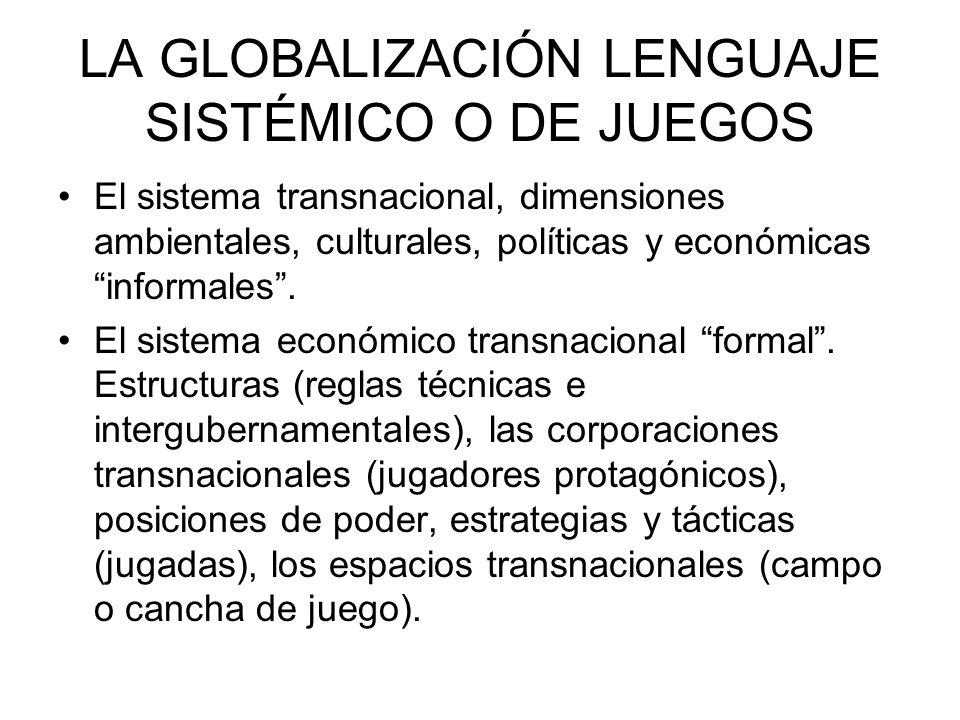 LA GLOBALIZACIÓN LENGUAJE SISTÉMICO O DE JUEGOS El sistema transnacional, dimensiones ambientales, culturales, políticas y económicas informales. El s