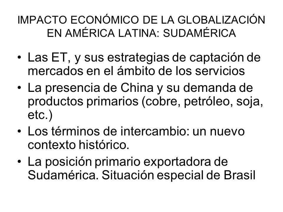 IMPACTO ECONÓMICO DE LA GLOBALIZACIÓN EN AMÉRICA LATINA: SUDAMÉRICA Las ET, y sus estrategias de captación de mercados en el ámbito de los servicios L